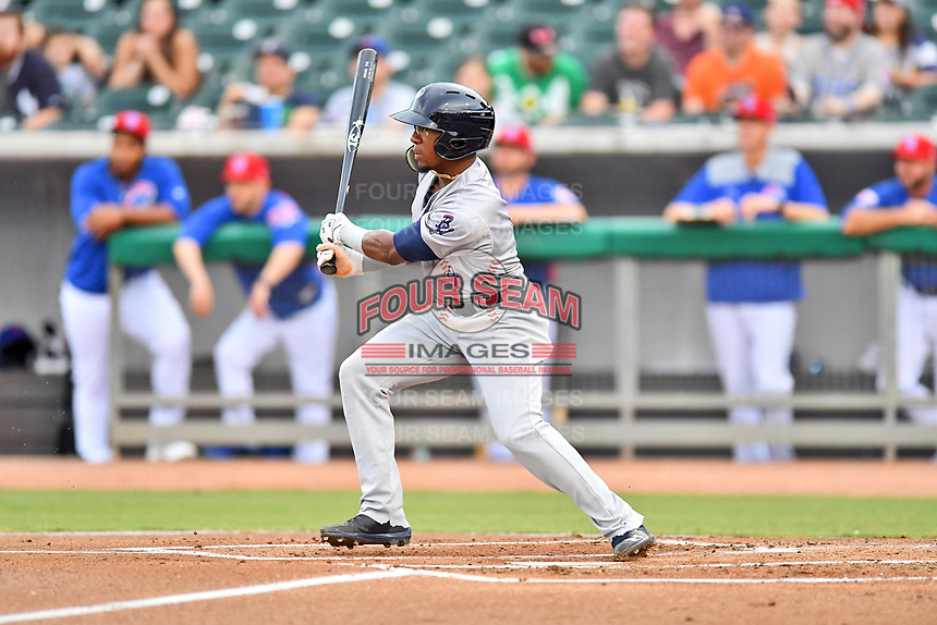 Pensacola Blue Wahoos second baseman Shed Long (4) swings at a pitch during a game against the Tennessee Smokies at Smokies Stadium on August 30, 2018 in Kodak, Tennessee. The Blue Wahoos defeated the Smokies 5-1. (Tony Farlow/Four Seam Images)