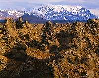Lava formations, Myvatn Nature Preserve, Iceland, Dimmuborgir Lava Flow, Ma,y Near Lake Myvatn, Evening