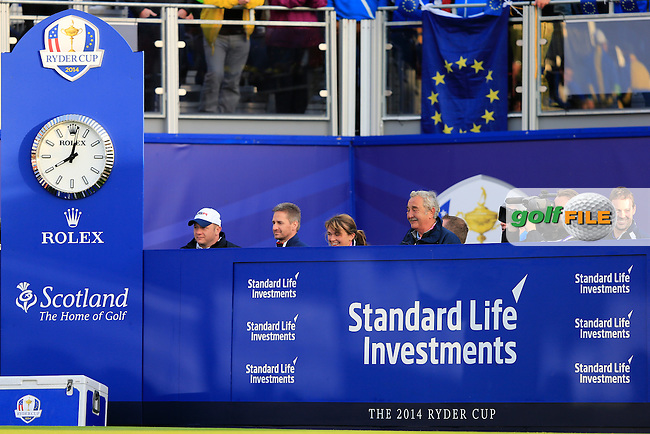 The boards at the 1st tee during the Saturday Fourball Matches of the Ryder Cup at Gleneagles Golf Club on Saturday 27th September 2014.<br /> Picture:  Thos Caffrey / www.golffile.ie