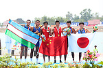 (L-R) Sardor Tulkinkhujaev & Alisher Turdiev (UZE),  XiaoÄXiong & Zhao Jingbin (CHN),  Yoshihiro Otsuka &  Yuta Takano (JPN), <br /> AUGUST 23, 2018 - Rowing : <br /> Men's pair  Medal ceremony <br /> at Jakabaring Sport Center Lake <br /> during the 2018 Jakarta Palembang Asian Games <br /> in Palembang, Indonesia. <br /> (Photo by Yohei Osada/AFLO SPORT)