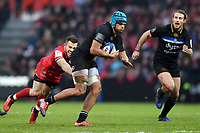 Zach Mercer of Bath Rugby looks to get past Zack Holmes of Toulouse. Heineken Champions Cup match, between Stade Toulousain and Bath Rugby on January 20, 2019 at the Stade Ernest Wallon in Toulouse, France. Photo by: Patrick Khachfe / Onside Images