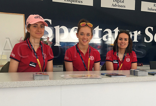 23rd July 2017, Royal Birkdale Golf Club, Southport, England; The 146th Open Golf Championship, fourth round ; Three members of staff on duty ready to welcome visitors to the R&A information centre