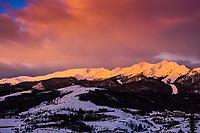 The Tenmile Range near Breckenridge, Colorado is set aglow by the rising sun.