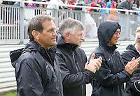 Boyds, MD - Saturday May 14, 2016: Houston Dash head coach Randy Waldrum, and goalkeeper coach Tom Brown during a regular season National Women's Soccer League (NWSL) match at Maureen Hendricks Field, Maryland SoccerPlex. The Washington Spirit defeated the Houston Dash 1-0.