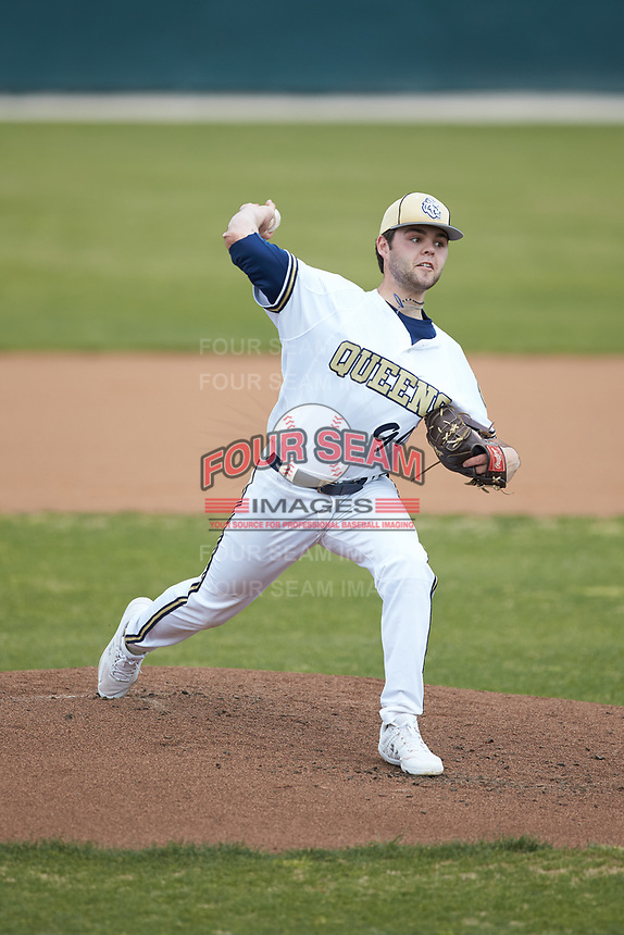 Queens Royals starting pitcher Zach Kelly (99) in action against the Mars Hill Lions at Intimidators Stadium on March 30, 2019 in Kannapolis, North Carolina. The Royals defeated the Bulldogs 11-6 in game one of a double-header. (Brian Westerholt/Four Seam Images)