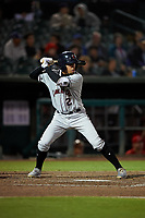 Lancaster JetHawks shortstop Alan Trejo (2) at bat during a California League game against the Inland Empire 66ers at San Manuel Stadium on May 18, 2018 in San Bernardino, California. Lancaster defeated Inland Empire 5-3. (Zachary Lucy/Four Seam Images)