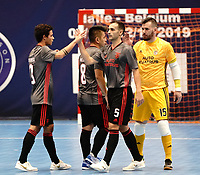 20191010 - HALLE: Benfica players celebrating their win at the end of the UEFA Futsal Champions League Main Round match between Araz Naxcivan and SL Benfica on 10th October 2019 at De Bres Sportcomplex, Halle, Belgium. PHOTO SPORTPIX | SEVIL OKTEM
