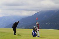 Scott Hend (AUS) chips onto the 7th green during Sunday's Final Round of the 2017 Omega European Masters held at Golf Club Crans-Sur-Sierre, Crans Montana, Switzerland. 10th September 2017.<br /> Picture: Eoin Clarke | Golffile<br /> <br /> <br /> All photos usage must carry mandatory copyright credit (&copy; Golffile | Eoin Clarke)