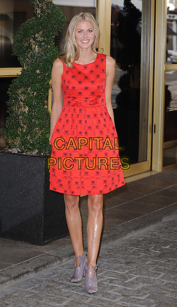 Donna Air launches 'Ecoluxe' at the Kingsway Hall Hotel, London, England..September 15th, 2011.full length dress grey gray booties shoes red sleeveless mug cup saucer print.CAP/DS.©Dudley Smith/Capital Pictures