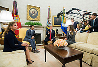 United States President Donald Trump (2nd-R) and first lady Melania Trump (R) meet with Canadian Prime Minister Justin Trudeau (2nd-L) and his wife Gregoire Trudeau in the Oval Office at the White House in Washington, D.C. on October 11, 2017. <br /> Credit: Kevin Dietsch / Pool via CNP /MediaPunch<br /> CAP/MPI/RS<br /> &copy;RS/MPI/Capital Pictures