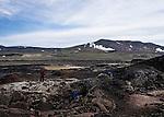 le 22 aout 2013, champ de lave à Leirhnukur proche de la ville de Myvatn en islande. the 22nd august 2013, a lava flow ar Leirhnukur near the city of Myvatn in iceland.