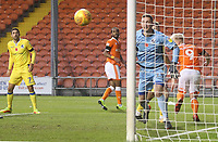 Blackpool's Nathan Delfouneso sees his header go past the post<br /> <br /> Photographer Mick Walker/CameraSport<br /> <br /> The EFL Sky Bet League One - Blackpool v Bristol Rovers - Saturday 3rd November 2018 - Bloomfield Road - Blackpool<br /> <br /> World Copyright © 2018 CameraSport. All rights reserved. 43 Linden Ave. Countesthorpe. Leicester. England. LE8 5PG - Tel: +44 (0) 116 277 4147 - admin@camerasport.com - www.camerasport.com