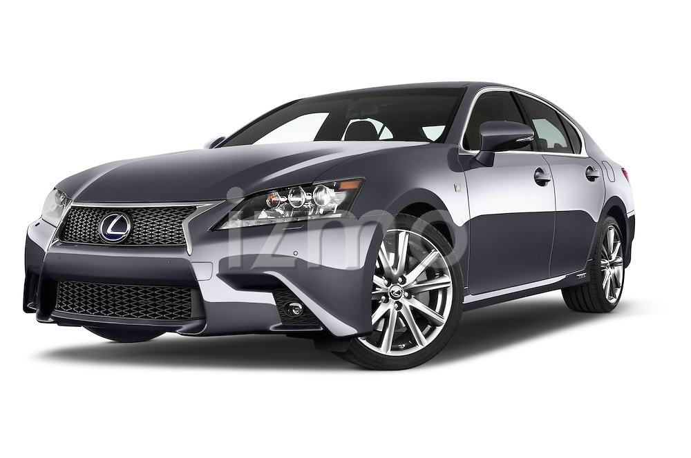 Stock pictures of low aggressive front three quarter view of a 2014 Lexus GS 300H Hybrid F Sport Line 4 Door Sedan 2WD Low Aggressive