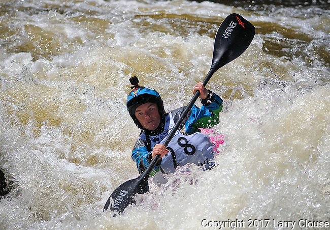 June 8, 2017 - Vail, Colorado, U.S. - South Carolina's, Adriene Levknecht,  is fully focused on Homestake Creek's upper section in the Steep Creek competition during the GoPro Mountain Games, Vail, Colorado.  Adventure athletes from around the world meet in Vail, Colorado, June 8-11, for America's largest celebration of mountain sports, music, and lifestyle.