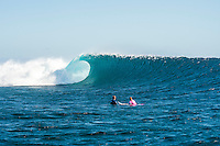 Namotu Island Resort, Nadi, Fiji (Monday, May 30 2016): Strider Wasilewski (USA) and Sally Fitzgibbons (AUS) - The  2016 Fiji Women's Pro commenced at 9 am this morning in clean 3'-4' building swell at Cloudbreak. Rounds 2,3and 4  was completed as the swell built through the afternoon. There were strong Trade winds in the afternoon as well making the waves a bit choppy. Photo: joliphotos.com
