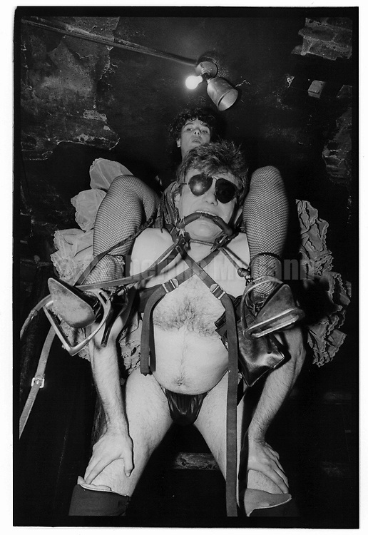 October 7, 1987:  Danny the Wonder Pony gives a woman a ride at the Vault sex club, formerly located on 10th Avenue near 13th Street in the meatpacking district in New York City