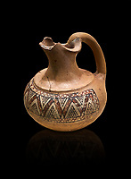Phrygian terracotta trefoil jug decorated with geometric designs . 8th-7th century BC . Çorum Archaeological Museum, Corum, Turkey