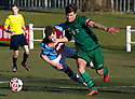 Whitehill's Aaron Somerville goes down in the box as he's challenged by Stirling's Calum Burns but Referee Barry Reid waves play on.