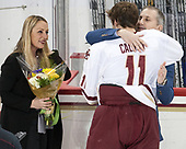 Janine Vazza, Chris Calnan (BC - 11), Jay Calnan - The visiting University of Vermont Catamounts tied the Boston College Eagles 2-2 on Saturday, February 18, 2017, Boston College's senior night at Kelley Rink in Conte Forum in Chestnut Hill, Massachusetts.Vermont and BC tied 2-2 on Saturday, February 18, 2017, Boston College's senior night at Kelley Rink in Conte Forum in Chestnut Hill, Massachusetts.