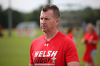 Pictured: Referee Nigel Owens in Cardiff, Wales, UK. Wednesday 24 August 2016<br /> Re: The largest rugby scrum has been achieved by Golden Oldies at University Fields in Cardiff south Wales, UK. It was refereed by welsh international referee Nigel Owens. Guinness World Records has verified the new record in which 1297 people took part in.