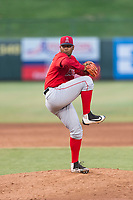 AZL Angels relief pitcher Yoel De Leon (71) delivers a pitch during an Arizona League game against the AZL Diamondbacks at Tempe Diablo Stadium on July 16, 2018 in Tempe, Arizona. The AZL Diamondbacks defeated the AZL Angels by a score of 4-3. (Zachary Lucy/Four Seam Images)