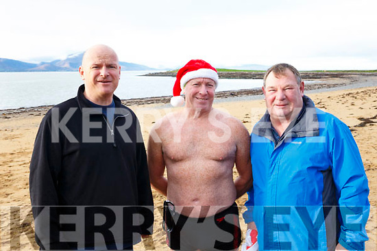 Fenit Beach Launch of Christmas Day Swim in aid of the Fenit RNLI, l-r, Mike O'Connor, (RNLI),  Kevin Williams  & Michael Slattery (Tralee Bay swimming Club).