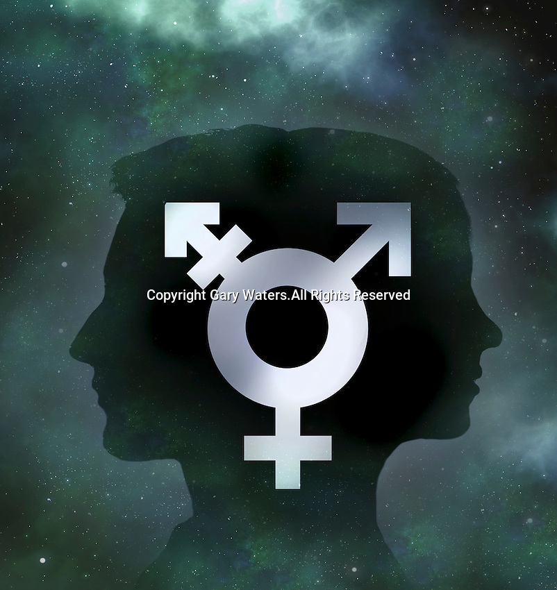 Back to back male and female profiles with transgender symbol