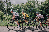 yellow jersey / GC leader Geraint Thomas (GBR/SKY) up the first climb of the day: the Mont&eacute;e de Bisanne<br /> <br /> Stage 6: Frontenex &gt; La Rosi&egrave;re Espace San Bernardo (110km)<br /> 70th Crit&eacute;rium du Dauphin&eacute; 2018 (2.UWT)