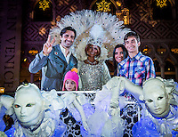 LAS VEGAS, NV - November 20 : Gilles Marini with his wife Carole, daughter Juiliana, and son Georges and a parade character pictured as The Venetian and The Palazzo kick off 2nd annual Winter in Venice on November 20, 2012 at The Venetian in Las Vegas, Nevada.  Credit: Kabik/ Starlitepics / MediaPunch Inc.