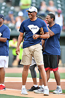 Alex English is introduced as the left fielder for the Celebrity Team before a game against the soldiers from Fort Jackson as part of the All Star Game festivities at Spirit Communications Park on June 19, 2017 in Columbia, South Carolina. The soldiers from Fort Jackson defeated the Celebrities 1-0. (Tony Farlow/Four Seam Images)