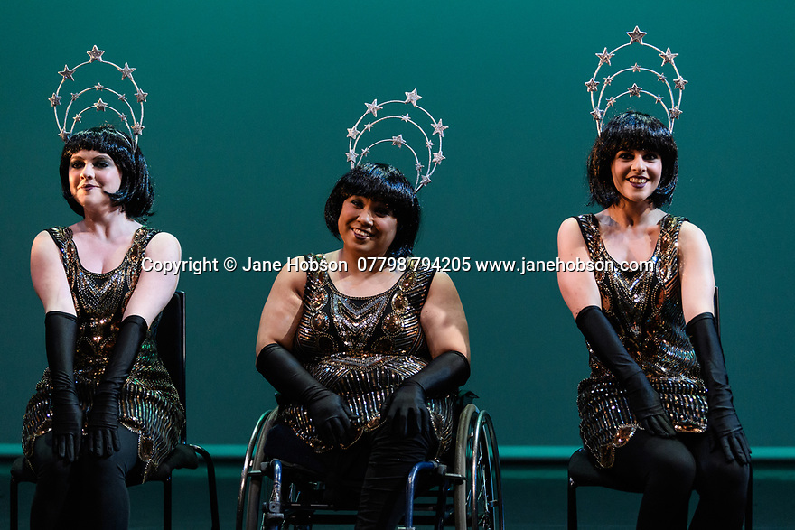London, UK. 09.05.2018. Step Change Studios present their ballroom show Fusion, at Sadler's Wells' Lilian Baylis Studio. Fusion is the UK's first inclusive Latin and ballroom dance showcase by disabled and non-disabled artists, drawing on different dance influences such as swing and contemporary to develop original pieces inspired by Latin and ballroom. Picture shows: JAZZ CHORUS, by Nancy Hitzig. Performed by: Adrienne Armorer, Annie Fox, Freya Spencer, Jane Campbell, Kat Ball, Lara Romanelli, Laura Dajao, Nancy Hitzig. Photograph © Jane Hobson.