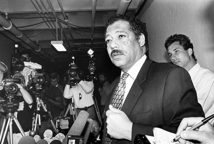 Rep. Julian C. Dixon, D-Calif. outside of the Ethic Committee room, which has been staked out by reporters. July 24, 1989. (Photo by Laura Patterson/CQ Roll Call)