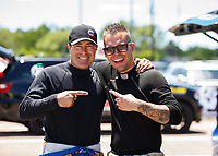 Apr 23, 2017; Baytown, TX, USA; NHRA tfunny car driver Ron Capps (left) with Jonnie Lindberg during the Springnationals at Royal Purple Raceway. Mandatory Credit: Mark J. Rebilas-USA TODAY Sports