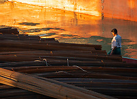 Steel for construction on Barges on the Irrawaddy River in Mandalay, Myanmar