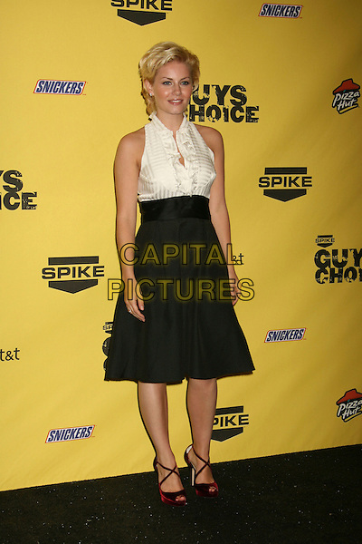 "ELISHA CUTHBERT.Spike TV's ""Guy Choice"" Awards held at Radford Studios, Studio City, California, USA..June 9th, 2007.full length black high waisted A-line skirt pockets white blouse bib frills ruffles sleevless top fifties style red bag strappy shoes sandals.CAP/ADM/RE.©Russ Elliot/AdMedia/Capital Pictures"