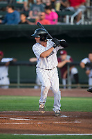 Idaho Falls Chukars first baseman Reed Rohlman (19) at bat during a Pioneer League game against the Great Falls Voyagers at Melaleuca Field on August 18, 2018 in Idaho Falls, Idaho. The Idaho Falls Chukars defeated the Great Falls Voyagers by a score of 6-5. (Zachary Lucy/Four Seam Images)