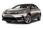 Stock pictures of low aggressive front three quarter view of 2017 Toyota Corolla Lounge 4 Door Sedan Low Aggressive