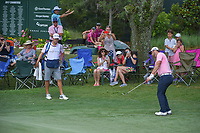 Jon Rahm (ESP) chips onto 9 during round 4 of The Players Championship, TPC Sawgrass, at Ponte Vedra, Florida, USA. 5/13/2018.<br /> Picture: Golffile | Ken Murray<br /> <br /> <br /> All photo usage must carry mandatory copyright credit (&copy; Golffile | Ken Murray)