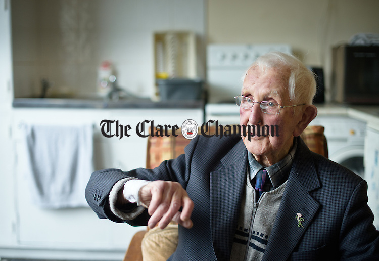 Mike Walsh of Drumgeely Avenue, Shannon, who has celebrated his 100th birthday. Photograph by John Kelly.