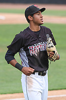 Wisconsin Timber Rattlers shortstop Jake Gatewood (2) during a Midwest League game against the Kane County Cougars on May 16th, 2015 at Fox Cities Stadium in Appleton, Wisconsin.  Kane County defeated Wisconsin 4-2.  (Brad Krause/Four Seam Images)