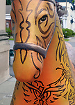 """A view of """"Tribal Tatoo Horse"""" created by artist, Grey Ivor Morris, one of the """"Rockin' Around Saugerties"""" theme Statues on display throughout the Village of Saugerties, NY, on Sunday, June 4, 2017. Photo by Jim Peppler. Copyright/Jim Peppler-2017."""