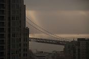 Oakland Bay Bridge, as seen from a hotel in San Francisco