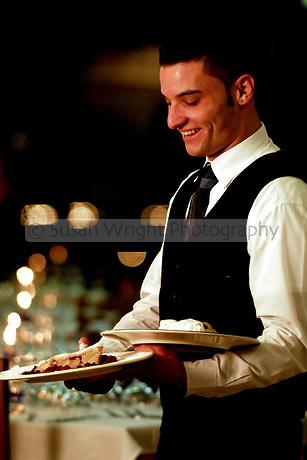 Waiter serving tables in restaurant, Ravello, Amalfi Coast, Italy