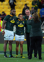 The Springboks capture a memento after winning the Rugby Championship match between the New Zealand All Blacks and South Africa Springboks at Westpac Stadium in Wellington, New Zealand on Saturday, 15 September 2018. Photo: Dave Lintott / lintottphoto.co.nz