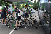 Team Pedal Heaven competitors prepare for the race during the Abergavenny Festival of Cycling &quot;Grand Prix of Wales&quot; race on Sunday 17th 2016<br /> <br /> <br /> Jeff Thomas Photography -  www.jaypics.photoshelter.com - <br /> e-mail swansea1001@hotmail.co.uk -<br /> Mob: 07837 386244 -