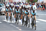 AG2R La Mondiale in action during Stage 1 of La Vuelta 2019, a team time trial running 13.4km from Salinas de Torrevieja to Torrevieja, Spain. 24th August 2019.<br /> Picture: Luis Angel Gomez/Photogomezsport | Cyclefile<br /> <br /> All photos usage must carry mandatory copyright credit (© Cyclefile | Luis Angel Gomez/Photogomezsport)