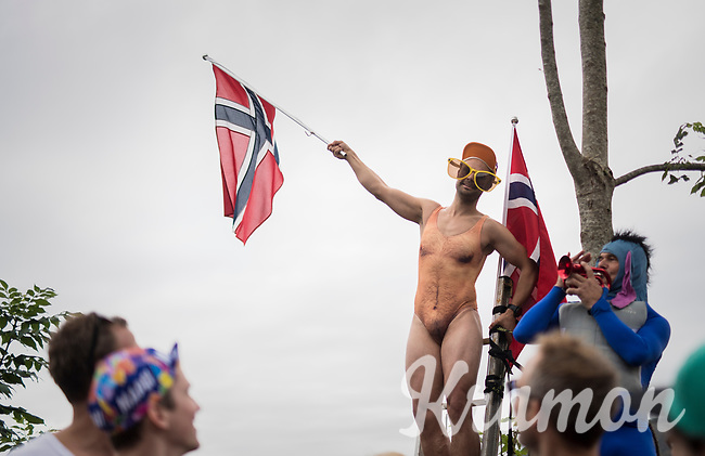 hairy Norwegian fan cheering at Salmon Hill<br /> <br /> Men Elite Road Race<br /> <br /> UCI 2017 Road World Championships - Bergen/Norway