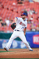Buffalo Bisons starting pitcher Scott Diamond (17) delivers a pitch during a game against the Lehigh Valley IronPigs on July 9, 2016 at Coca-Cola Field in Buffalo, New York.  Lehigh Valley defeated Buffalo 9-1 in a rain shortened game.  (Mike Janes/Four Seam Images)