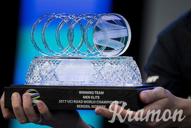 the TTT World Champions trophy<br /> <br /> Men's Team Time Trial<br /> <br /> UCI 2017 Road World Championships - Bergen/Norway
