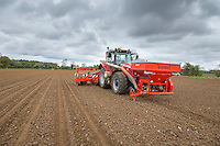 Drilling forage maize with Kuhn dril & fertilser front tank- May, Norfolk